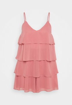 Missguided - LAYERED FRILL FLOATY PLAYSUIT - Combinaison - rose pink