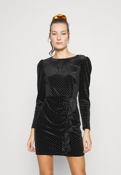 Dorothy Perkins - RUFFLE SPOT MINI VELVET DRESS - Shift dress - black