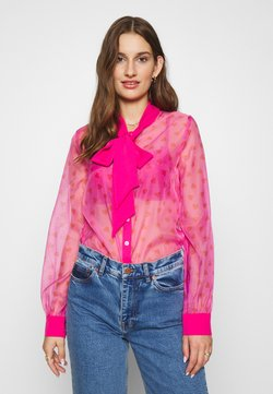 Never Fully Dressed - HEARTS PRINT TIE NECK BLOUSE - Overhemdblouse - pink
