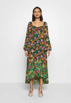 Who What Wear - THE PUFFSLEEVE MIDI DRESS - Vestito lungo - green/multi