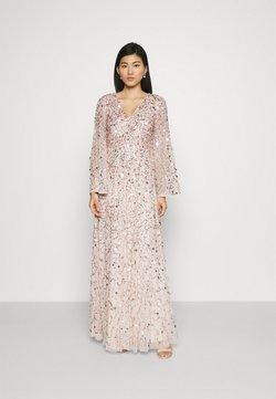 Maya Deluxe - ALL OVER 3D EMBELLISHED DRESS WITH BELL SLEEVE - Robe de cocktail - pearl pink