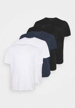 Pier One - 5 PACK - T-shirt basique - white/black/blue