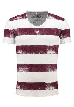 Key Largo - MT AIRFLIGHT - T-Shirt print - offwhite-bordeaux