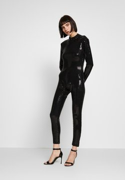 Jaded London - LONG SLEEVE LUREX CATSUIT WITH THONG BACK DETAIL - Combinaison - black