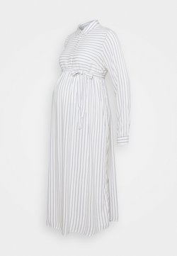 MAMALICIOUS - MLALANYA WOVEN MIDI DRESS  - Blusenkleid - snow white/stripes in crown blue
