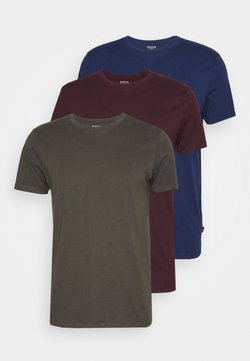 Burton Menswear London - SHORT SLEEVE CREW 3 PACK - Basic T-shirt - indigo/burgundy/khaki