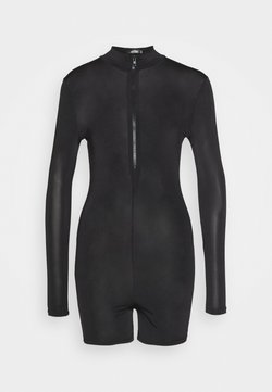 Missguided - LONG SLEEVE ZIP FRONT UNITARD - Combinaison - black