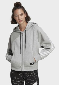 adidas Performance - ADIDAS SPORTSWEAR WRAPPED 3-STRIPES FULL-ZIP HOODIE - Felpa aperta - grey
