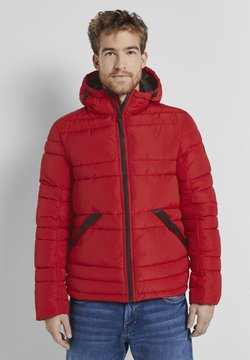 TOM TAILOR - PUFFER JACKET WITH HOOD - Winterjacke - mighty red