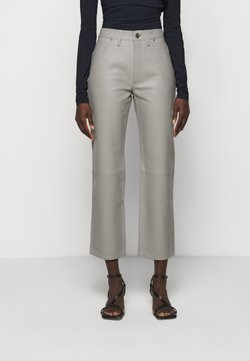 Goldsign - THE RELAXED STAIGHT - Pantalon en cuir - silver grey