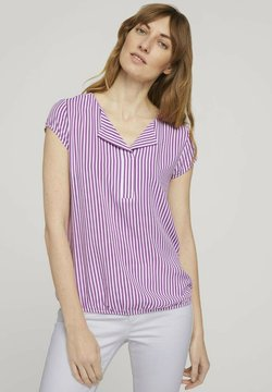 TOM TAILOR - WITH FEMININE NECKLINE - Bluse - lilac white vertical stripe