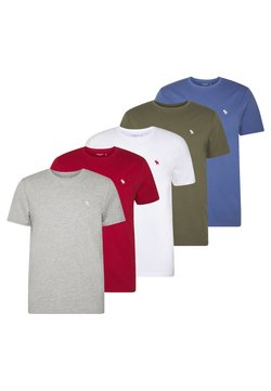 Abercrombie & Fitch - CREW MULTIPACK 5 PACK - T-shirt basic - green/blue/white/red/grey