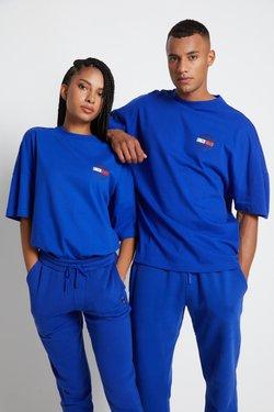 Tommy Hilfiger - LEWIS HAMILTON OVERSIZED UNITY GLOBE TEE - T-shirt z nadrukiem - sapphire blue