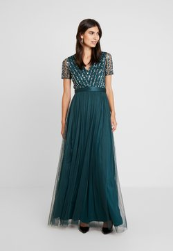 Maya Deluxe - STRIPE EMBELLISHED MAXI DRESS WITH BOW TIE - Ballkleid - emerald