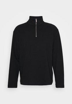 Weekday - UNISEX TOBIAS HALFZIP LONGSLEEVE - Bluzka z długim rękawem - black