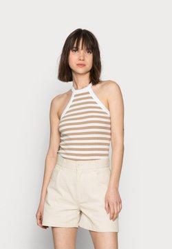 Selected Femme - SLFANALIPA TOP STRIPE - Top - bright white/ kelp