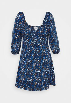 Glamorous - MINI DRESS RUCHED SWEETHEART NECKLINE  - Freizeitkleid - navy blue/orange