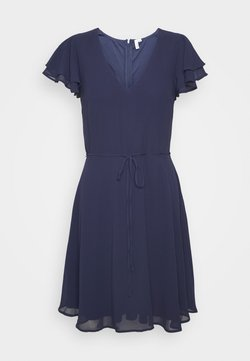 Nly by Nelly - DOUBLE FLOUNCE SLEEVE DRESS - Sukienka koktajlowa - navy