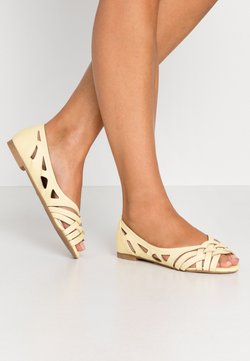 Dorothy Perkins Wide Fit - WIDE FIT PEARLENE  - Ballerines à bout ouvert - yellow