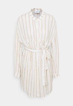 Dondup - STRIPED LINEN DRESS - Blusenkleid - beige