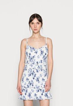 Abercrombie & Fitch - EMEA SMOCKED SHORT DRESS - Freizeitkleid - white-grounded/blue
