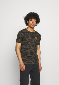 Brave Soul - CAMO - T-Shirt print - khaki/orange