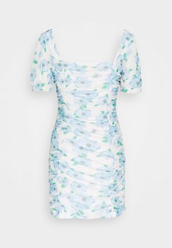 Glamorous - FLORAL RUCHED MINI DRESS - Vestido informal - white/blue