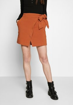 Lost Ink - WRAP TIE DETAIL MINI SKIRT - Jupe trapèze - rust