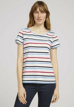 TOM TAILOR - T-Shirt print - navy red multicolor stripe