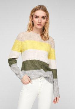s.Oliver - MIT COLOUR BLOCKING - Strickpullover - light yellow stripes