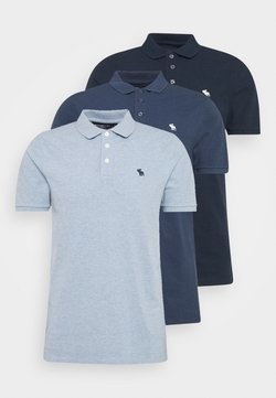 Abercrombie & Fitch - CROSS CHEST TECH 3 PACK - Poloshirt - blue heather/bering sea/navy