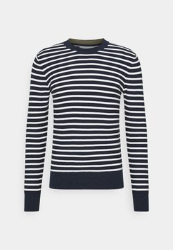 Casual Friday - KARLO STRIPED WITH COLOUR DETAILS - Strickpullover - navy blazer