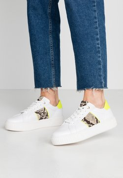 Marco Tozzi - LACEUP - Trainers - white/neon yellow