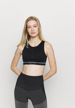 NU-IN - ZIP UP SPORTS BRA - Medium support sports bra - black
