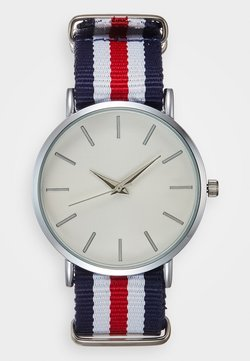 Pier One - Montre - silver-coloured/white/red