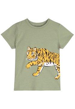 The Striped Cat - T-shirt print - khaki green