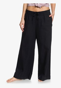 Roxy - ROXY GREAT PAST - PANTALON ÉVASÉ COURT EN LIN POUR FEMME ERJNP03 - Stoffhose - true black