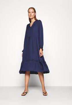 Selected Femme - SLFCALLIE DAMINA MIDI DRESS  - Freizeitkleid - maritime blue