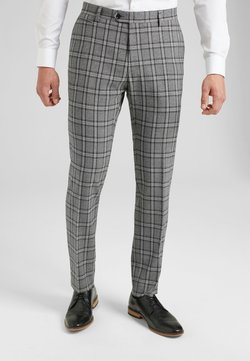 Next - GREY SKINNY FIT CHECK SUIT TROUSERS - Anzughose - grey