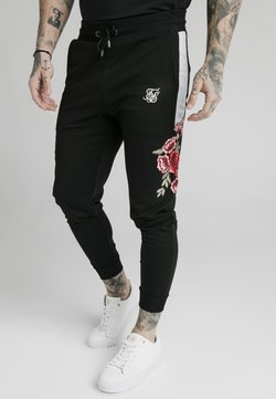 SIKSILK - APPLIQUÉ PANELLED FITTED JOGGERS - Træningsbukser - black