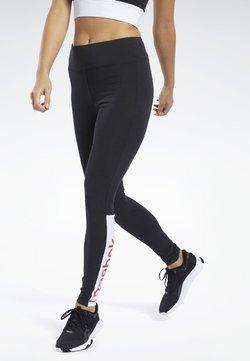 Reebok - TRAINING ESSENTIALS LINEAR LOGO LEGGINGS - Tights - black