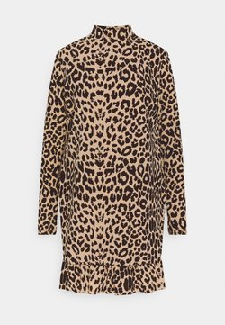 Missguided - LEOPARD FRILL  - Freizeitkleid - brown