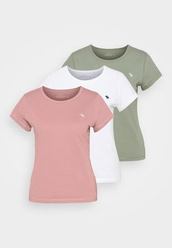Abercrombie & Fitch - SEASONAL CREW 3 PACK - T-Shirt basic - pink/white/olive