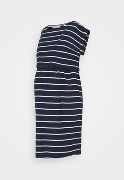 JoJo Maman Bébé - BRETON MATERNITY & NURSING TUNIC DRESS - Jerseykleid - navy white stripe