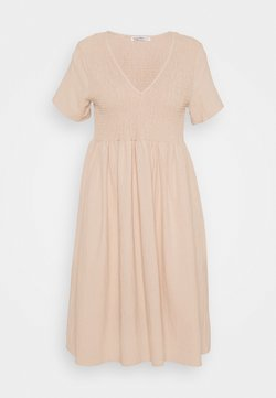 Glamorous Petite - SMOCKED MIDI DRESSES WITH SHORT SLEEVES LOW V NECK - Day dress - stone