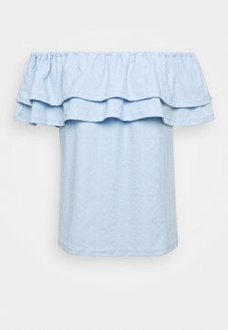 Dorothy Perkins - TEXT TIER BARDOT - Bluse - blue