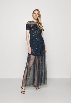 Maya Deluxe - ALL OVER EMBELLISHED MAXI DRESS WITH MINI LINING - Robe de cocktail - navy