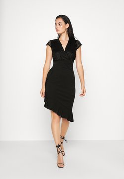 WAL G. - SIDE FRILL DETAIL MIDI DRESS - Cocktail dress / Party dress - black