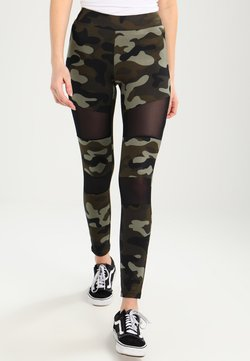 Urban Classics - LADIES CAMO TECH - Leggings - Hosen - wood/black