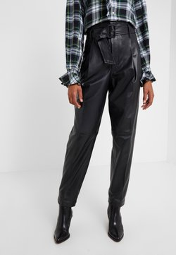 Polo Ralph Lauren - SHINE LUX  - Leather trousers - polo black